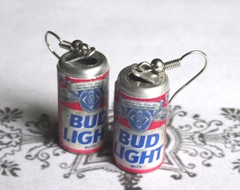 Miniature Beer Can Earrings Mini Bud Light Beer Can 3D Bud Lt Alcoholic Beverage Dangle Earrings PeculiarCollective Jewelry