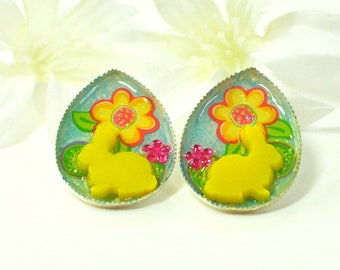 Cute Bunny Earrings Summer Sun - Bunny Earrings - Pet Bunny Rabbit - Gift for Her - Bunny Jewelry - Nature Jewelry - Rabbit Earrings -Animal