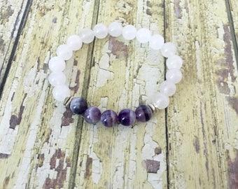 White Quartz Amethyst Yoga Bracelet
