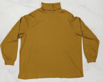 Vintage 80s Mustard Brown Long Sleeve Turtleneck Shirt Top, Womens XL Extra Large