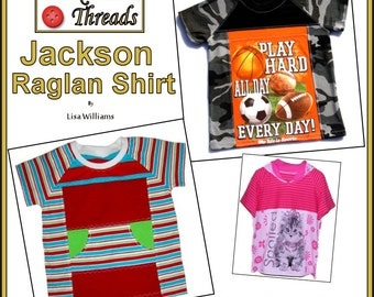 INSTANT DOWNLOAD: Jackson Raglan Shirt - DiY Tutorial PdF eBook Pattern - Sizes 1-2 to 18-20 - Great for making upcycles