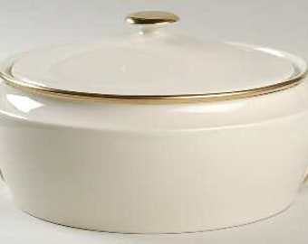 Lenox Eternal Cream & Gold Round Covered Vegetable