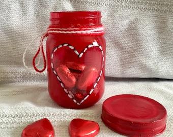 Red heart with Mason jar / jars