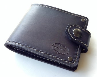 Biker Wallet / Mens Leather Wallet / Grey Bifold Wallet with Snap / Custom Leather / Engraved Wallet / Small Wallet / Pocket Wallet