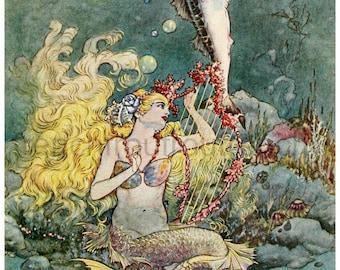 antique art deco mermaid and fish illustration digital download