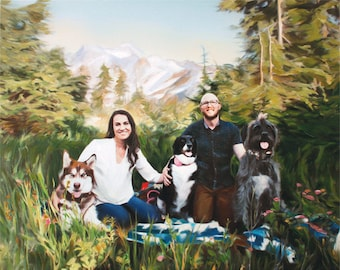Custom Family Portrait on Canvas from Photo - Family Painting - Family Picture- Hand Painted with Oil Paints - Ultimate Gift