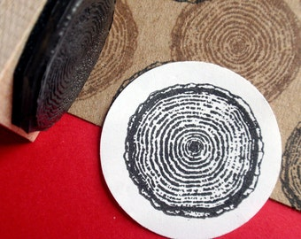 Rustic Tree Ring Rubber Rubber- Size Small - Handmade by Blossom Stamps