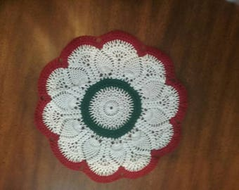 12 inch Christmas doily red, white and green