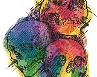 Rainbow Skull Trio Embroidered on Hand Towel or Tea Towel