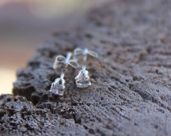 April Birthstone Gift, 3mm Cubic Zirconia Stud Earrings, Sterling Silver, Round Cut Gemstone, April Birthday Gift