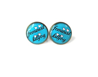 Blue Feminist Killjoy Stud Earrings - Feminist Heart Pop Culture Pastel Goth Soft Grunge Jewelry