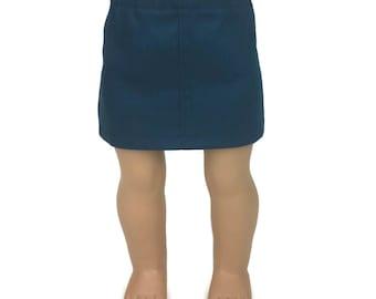 "Teal Stretch Denim Skirt - Doll Clothes fits 18"" American Girl Dolls"