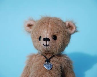 "Miniature teddy bear, Handmade, Collectible, OOAK, Eddie - 4"" bear"