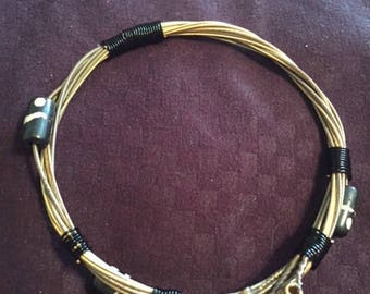 Upcycled Guitar String Bangle Bracelet with Beads