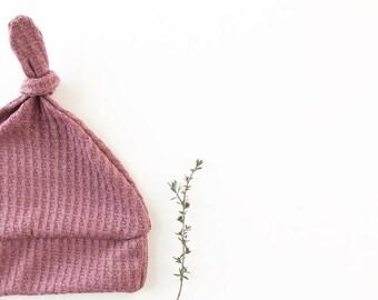 Beanie/Hat - Infant Knot Beanie in Dark Mauve Waffle Knit