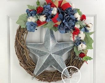 Patriotic Wreath, Star Wreath, Americana Wreath, Farmhouse Wreath, Red White Blue Wreath, Memorial Day Wreath, 4th of July Wreath, Grapevine