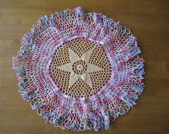 Multi color crochet doily, vintage star center