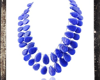 20% OFF COUPON!!!---Blue Sapphire Bead Necklace, 2 strand, 696 ctw