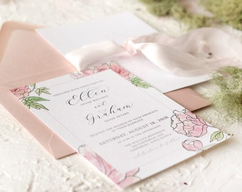 25 - Hand Drawn Pink Peony watercolour painted Wedding Invitation