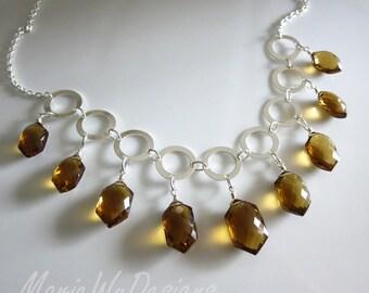 20%off-Exceptional Unique Cognac Quartz Multi Briolette-Fresh Water Pearls-Sterling Silver Hoops-Contemporary Adjustable Necklace