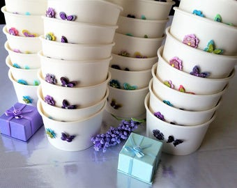 15 Butterfly/flower 8oz/200ml ice-cream cups/bowls - white paper food containers - wedding/baby shower/birthday party favour cups/decor