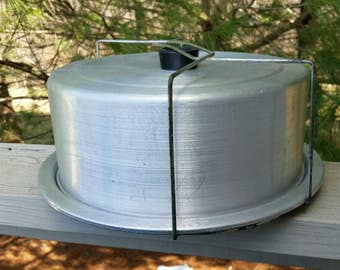 Vintage Aluminum Cake Carrier with Wire Handle