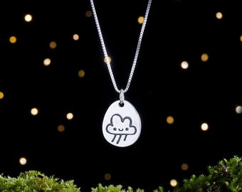 Sterling Silver Sunshine Rain Cloud - Double Sided Mood Pendant - (Pendant, Necklace, or Earrings)