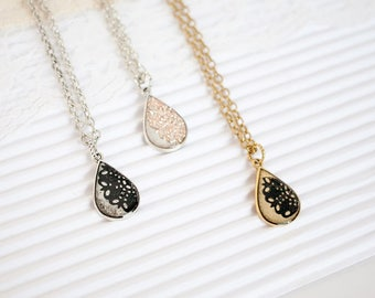 Long Black Necklace, Black Layering Necklace, Gold Layered Necklace, Silver Teardrop Pendant Necklace, Teardrop Necklace Bridesmaid
