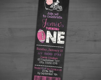 Football Ticket Invitation - Tailgate Chalkboard First Birthday Invite - Sports Party Theme - 1st - Pink Purple - Printable or Printed - 2x6