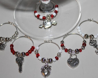 Hearts Locks and Keys Wine Glass Charms/Wine Party Charms/Wine Lovers Gifts/Girlfriend Gifts/Set of 6/FREE Organza Bag/Made in the USA