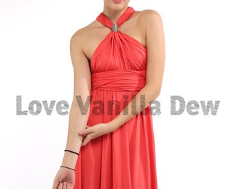 Bridesmaid Dress Infinity Dress Coral Straight Hem Knee Length Wrap Convertible Dress Wedding Dress