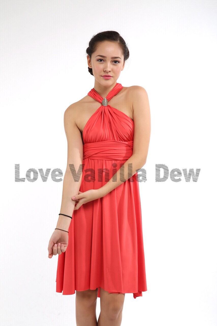 Brautjungfer Kleid Infinity Kleid Koralle gerader Saum Knie