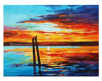 Printable art wall art prints from my Original Oil Sunset Painting