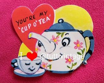 Vintage kitsch teapot and teacup valentine sticker
