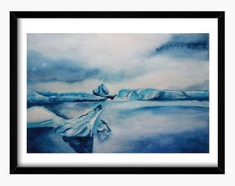 Original watercolor, arctic watercolor, Iceland watercolor, iceberg watercolor, ice watercolor, original painting, Iceland painting, art
