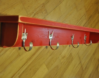 Vintage Forks Hooks Shelf with Hand Gestures Recycled Silverware