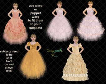 tulle  ribbon lace princess dresses | clipart | png format | clothing clipart | dresses clipart | overlays | fancy dress | digital art