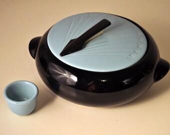 Vintage Shawnee Kenwood Turquoise Aqua & Black Sundial Casserole Chafing Dish Mid-Century Atomic '50s
