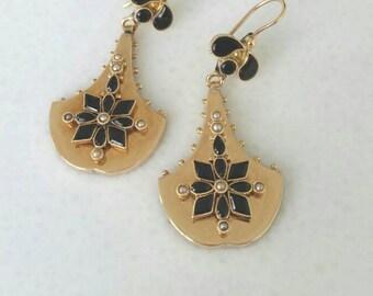 14k victorian earrings | 14k onyx seed pearl earrings