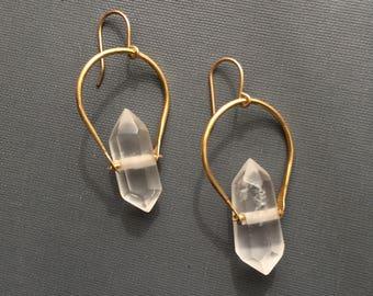 Crescent Quartz Earrings