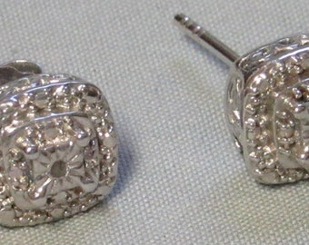 Sterling silver Square Stud post pierced earrings