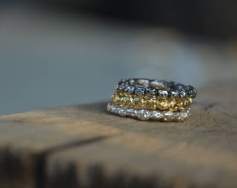 Wedding bands women silver, silver and gold ring set, stackable rings for women, simple ring band, silver wedding band women, textured rings