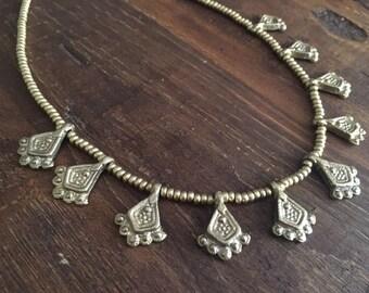 Rainfall over India, Brass Jewelry, Brass Necklace, Tribal, Tribal Necklace, Tribal Jewelry, Gold, Gold Jewelry, Boho, Bohemian, Indian