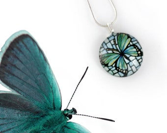 Green Butterfly Necklace - Handmade Butterfly Jewelry - Art Nouveau Charm - Glass Pendant - Stained Glass Necklace - Teal Butterfly Pendant