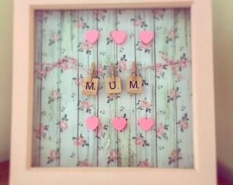 """Handmade Scrabble Tile Art Box frame """"Mum"""" Mother's Day Gift"""