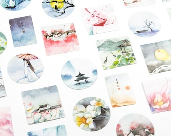Set of 40 japanese stickers