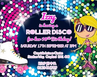 Printed Personalised Birthday Roller Disco Invitations x10