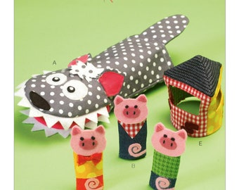 Sew & Make Kwik Sew 4048 SEWING PATTERN - 3 Little Pigs Big Bad Wolf Play Puppets and House