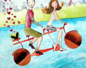 Couples Gift Idea - Custom Portrait - Watercolor and Mixed-Media Original Illustration - Couple Portrait