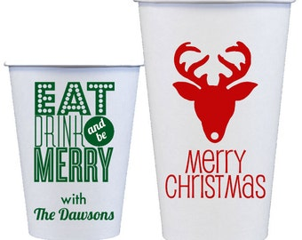 Personalized Paper Coffee Cups with Traveler Lids for Christmas